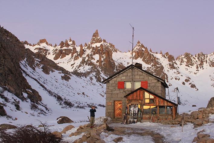 An early morning start at Refugio Frey, Patagonia. [Photo] Jared Hargrave