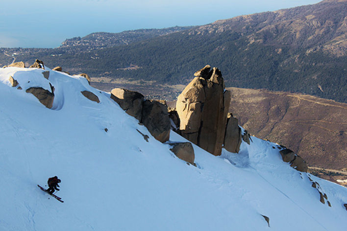 Sean Zimmerman-Wall skis La Laguna just before the missle-ski incident. [Photo] Jared Hargrave