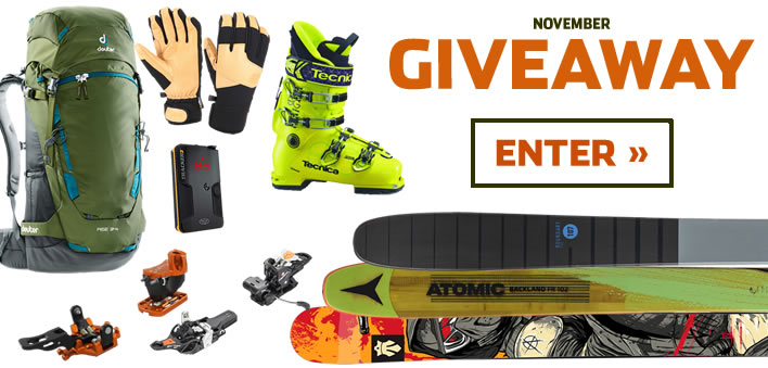 Enter to win our 2017 NOVEMBER prize package from Gordini, BCA, Plum, Tecnica, Deuter, Black Diamond, Fritschi, Atomic and Majesty.