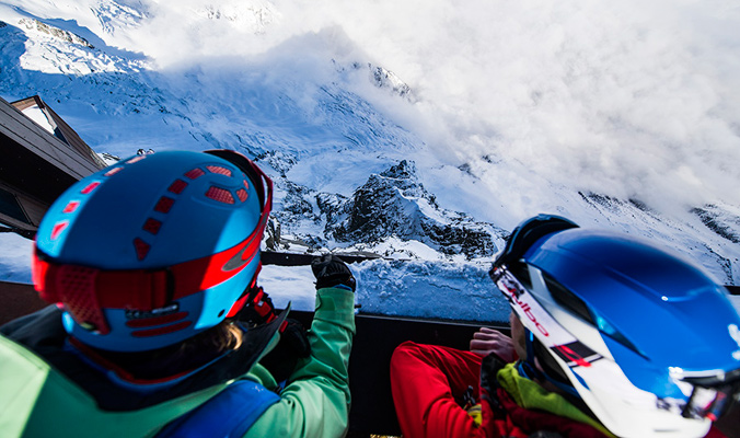 Andreas Fransson and the author peering down from the Aiguille du Midi. Chamonix, France. [Photo] Daniel Rönnbäck