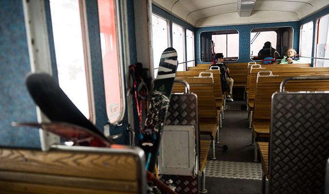 Andreas Fransson and the author on the Montenvers train back to Chamonix. [Photo] Daniel Rönnbäck