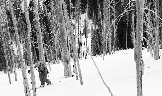 Out of Bounds: Climbing the slopes behind Boundary Creek Yurt. [Photo] Erme Catino