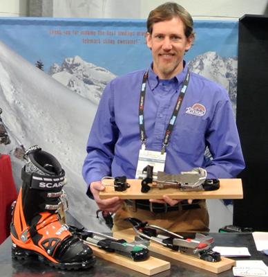 Chris Collins with his NTN prototype binding. [Photo] Tyler Cohen