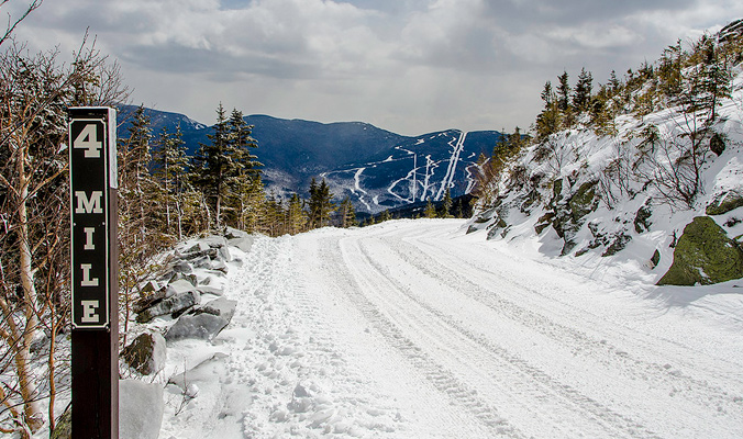 The Mt. Washington Auto Road in March 2014. [Photo] Mount Washington Valley Chamber of Commerce