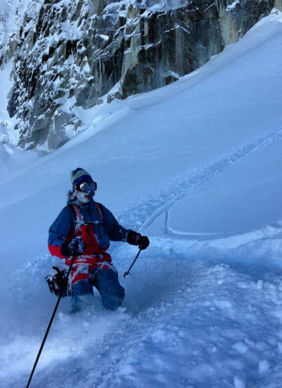 Bernardini skis Vallée Blanche powder. [Photo] Minna Riihimaki