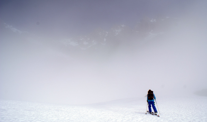 Dan Loutrel skins into the unknown. Andermatt, Switzerland. [Photo] Tyler Cohen