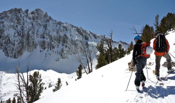 Adam Green and Marc Hanselman ease into the Sawtooth Mountains, Idaho. [Photo] Tyler Cohen