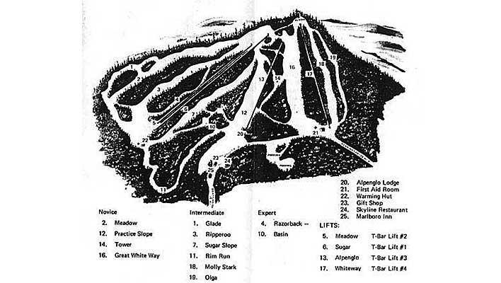 1970s era Hogback Ski Area map