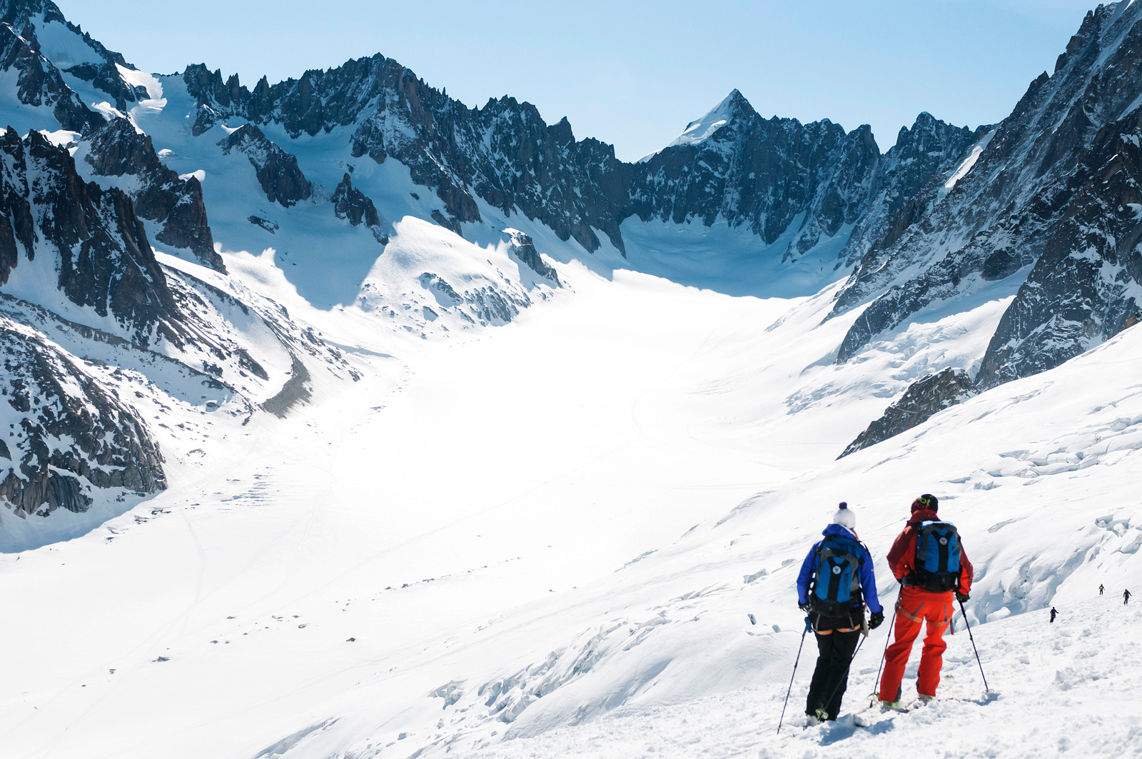 Tour planning: The Smarts scout a day's worth of touring on the Argentière Glacier from the top of the Grands Montets.