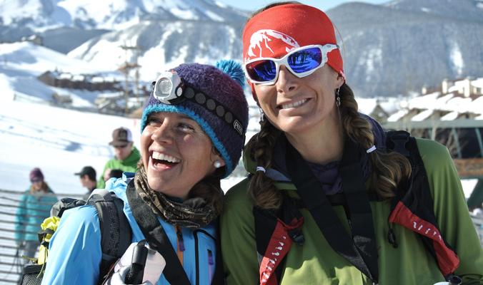 Stevie Kremer (left) and Jari Kirkland after winning the 2014 Grand Traverse. [Photo] Tyler Cohen