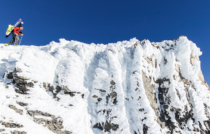 Noah Howell summits Mt Timpanogos after a rime event.