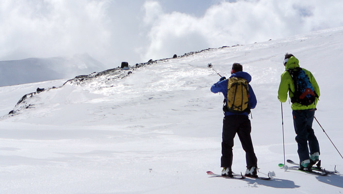 This way to the volcan. Michi Buechers and Martin Volken navigate near Nevados de Chillan, Chile. [Photo] Tyler Cohen