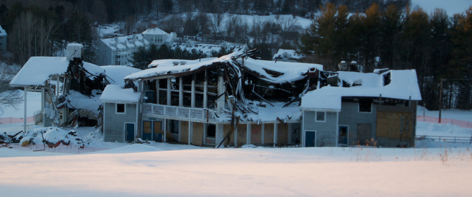 The destroyed base lodge following the January 8 fire. According to West Windsor Fire Chief Mike Spackman, the temperature that morning was about 10 below zero when firefighters arrived before dawn. The base lodge is not included in the land sale.