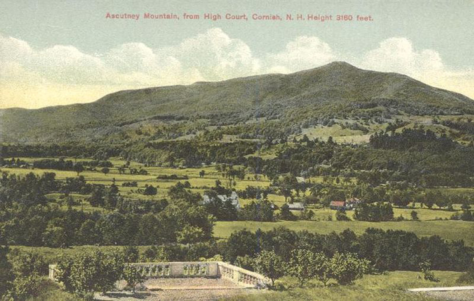 A postcard featuring the undeveloped eastern slope of Mt. Ascutney as taken from Cornish, N.H. around 1910. [Photo] Unknown