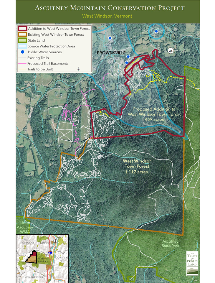 The Trust for Public Land's map of the Ascutney Mountain Project. [Image] Courtesy Trust for Public Land