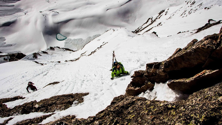 Colter Hinchcliffe and Riley Soderquist make their way up the steeps of Capitol Peak [Photo] Jordan White