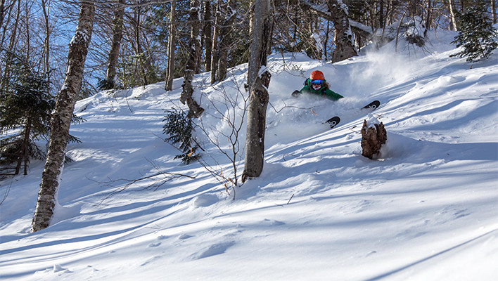 Louise enjoying a powdery morning at her home in Stowe, Vt. this past winter [Photo] Dana Allen