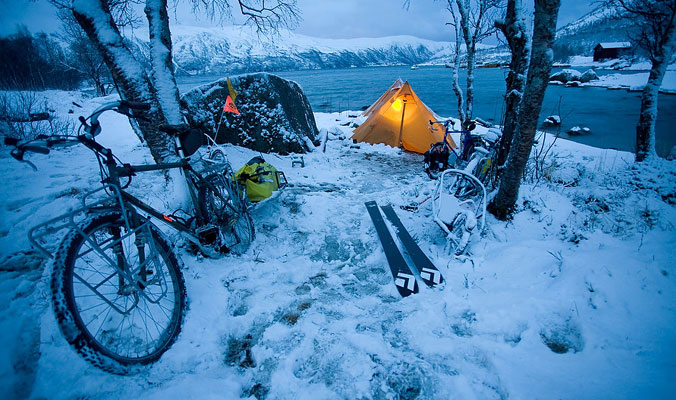 A shot taken on a month long pedal powered skiing adventure through Arctic Norway. [Photo] EmberPhoto