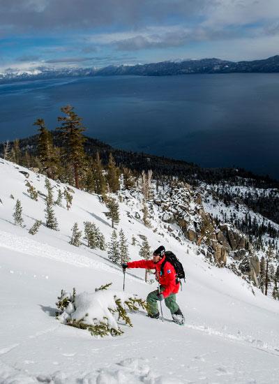 Brennan Lagasse skins up the flanks of Jake's Peak on Tahoe's West Shore. |Lake Tahoe, Calif. | [Photo] Ryan Salm