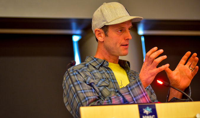 Martin Volken, IFMGA and owner of Pro Guiding Services, talks hazard assessment. [Photo] Rick Meade, NWAC