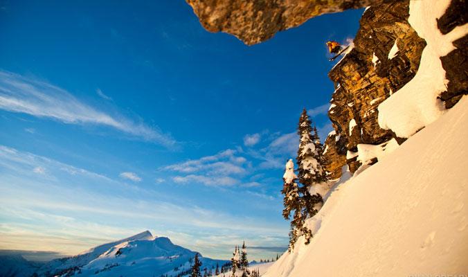 Tim Haggerty dives into the alpenglow.    Revelstoke, B.C.   [Photo] Ryan Creary