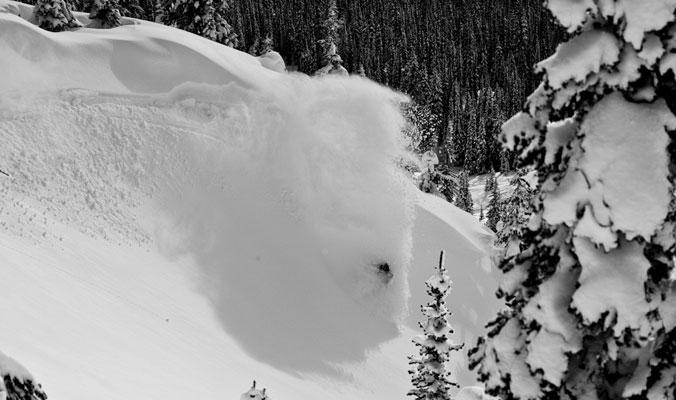 Scott Heale slashes a wind lip.   Revelstoke, B.C.   [Photo] Ryan Creary