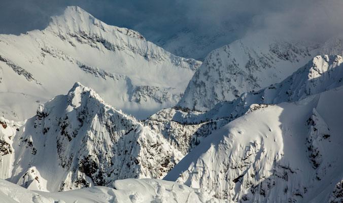 The mountains loom at Revelstoke Mountain Resort.    Revelstoke, B.C.   [Photo] Ryan Creary