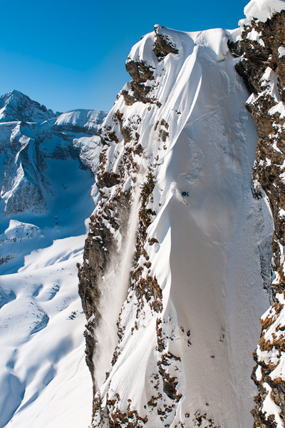 """Ilir Osmani conquers a chute on Les Fornets."" 