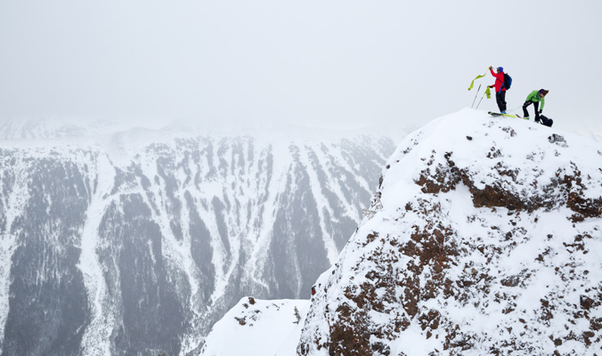 Brody Leven and Alyssa Larson prepare for the descent. | Cooke City, Montana | Photo: Kt Miller