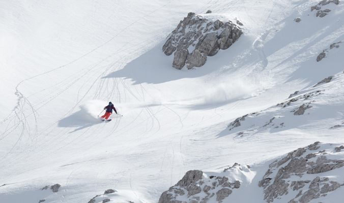 Molly Baker flows through a line in the Julien Alps. | Sella Nevea, Italy | Photo: Kt Miller