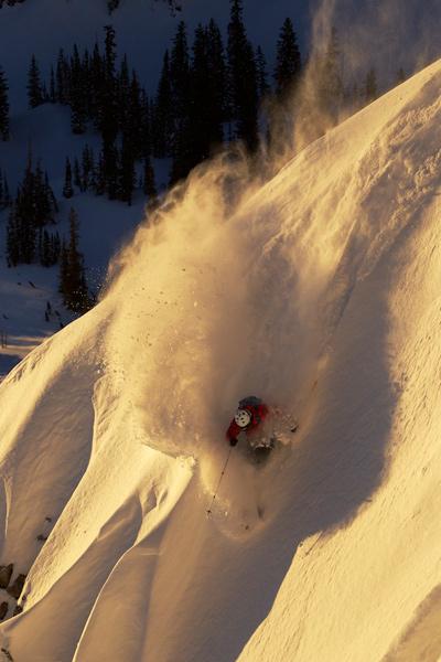 Parker Cook blazes in the sunlight.   Alta bc, Utah   [Photo] Adam Barker