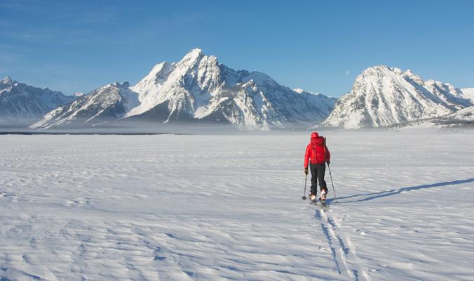 Kim Havell approaching Mt. Moran across Jackson Lake. | Teton Mountains, Wyo. | Tyler Cohen