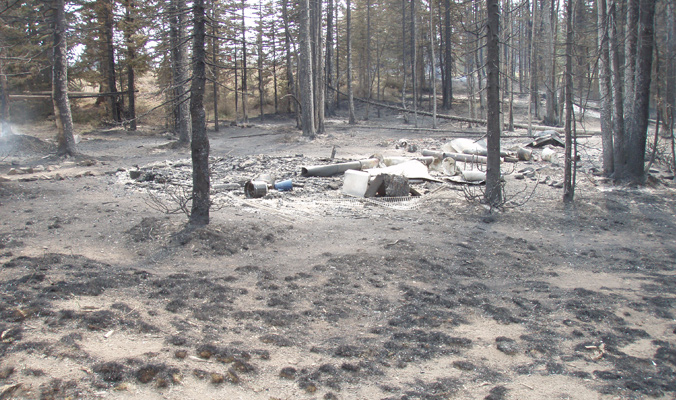The remains of Sun Valley Trekking's yurt after the Beaver Creek burn. Photo: Courtesy of Sun Valley Trekking