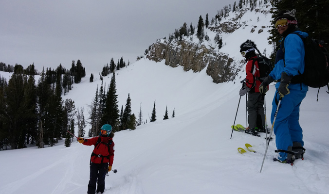 Jackson Hole mountain guide Aimee Barnes leads a guided tour in ou-of-bounds terrain. [Photo] Louise LIntilhac