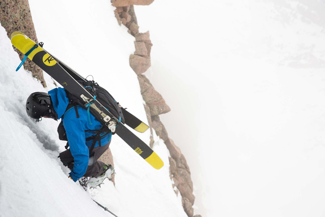 Jesse Levine down climbing onto the Sunlight ramp. [Photo] Bjorn Bauer