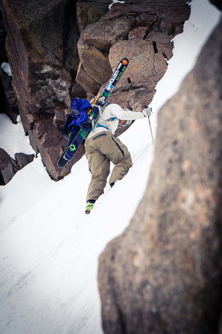Austin Porzak finds firmer snow in the top half of the East couloir.