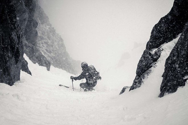Austin working his way down the East couloir.