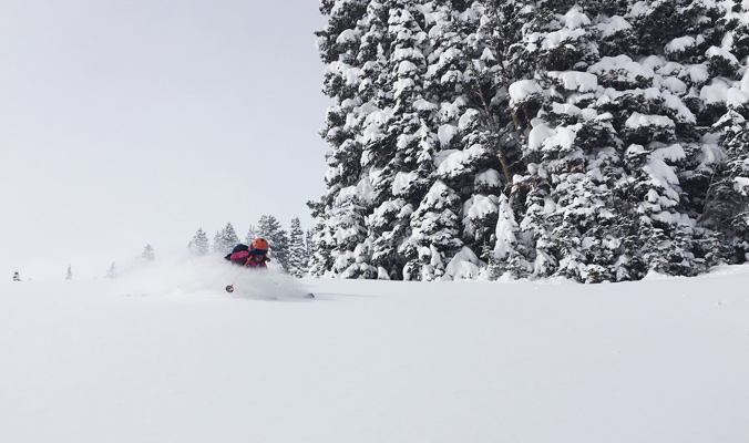 Louise Lintilhac getting some deep, low angle pow turns. [Photo] Jamie Starr