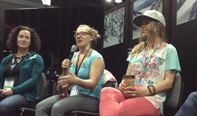 Berne Broudy, Pip Hunt and Lynsey Dyer discuss female communication in the backcountry. [Photo] Ben Pritchett