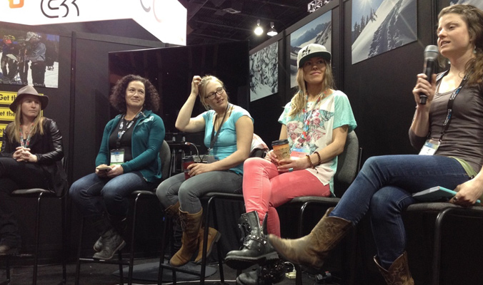 The Backcountry Experience women's panel at SIA. From left: Louise Lintilhac, Berne Broudy, Pip Hunt, Lynsey Dyer and Kt Miller [Photo] Ben Pritchett