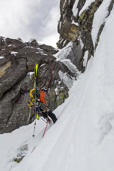 """""""There is a lot of ice-fall—it is steep and funky."""" -Eric Rasmussen [Photo] Eric Rasmussen"""