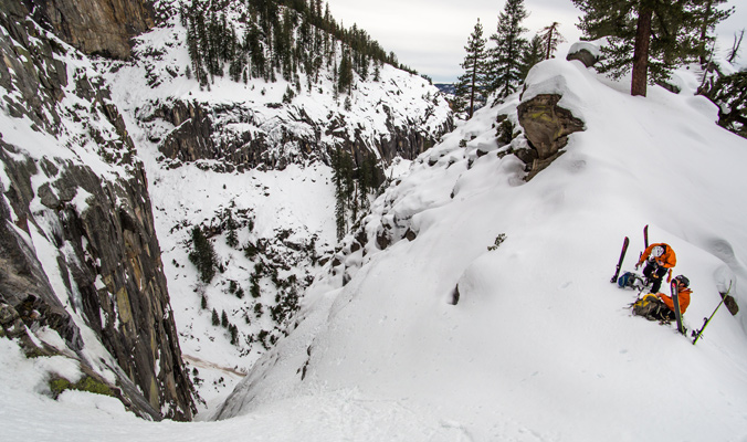 """""""The Super Couloir is something that is hidden from the valley view. No one really knew about it. Jason showed it to me in a photograph and in the photos it looked like a 300-foot ice climb. I was thinking, 'Well this will be ski mountaineering. I guess we can go up it and try to come down.'""""-Eric Rasmussen [Photo] Eric Rasmussen"""