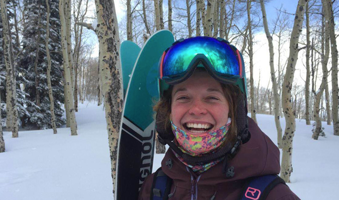 Caitlin Mitchell is happy about all of the fresh powder she has been able to ski at Powder Mountain for Gear Test Week. [Photo] Dana Allen