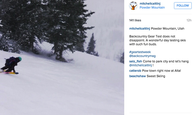 Tester Caitlin Mitchell enjoys the powder on day 1.