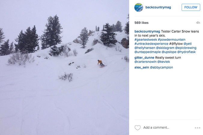 Associate Editor Lucy Higgins captures a shot of Tester Carter Snow trying out a new ski/boot setup on day 1.