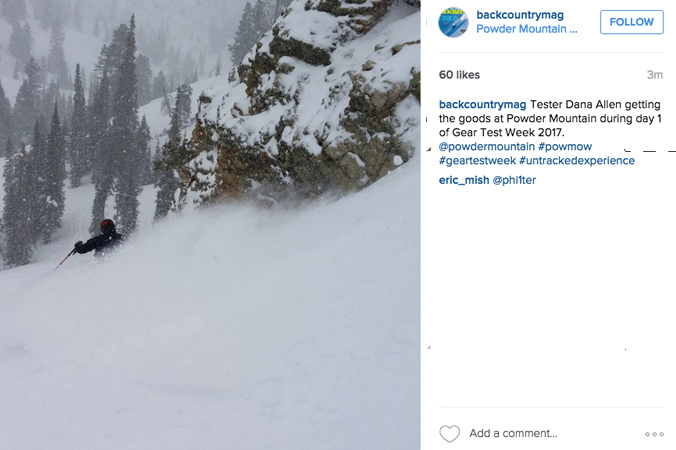 Tester Dana Allen rlaying down a big rooster tail at the end of Day 1. it was still snowing hard at the end of the day.