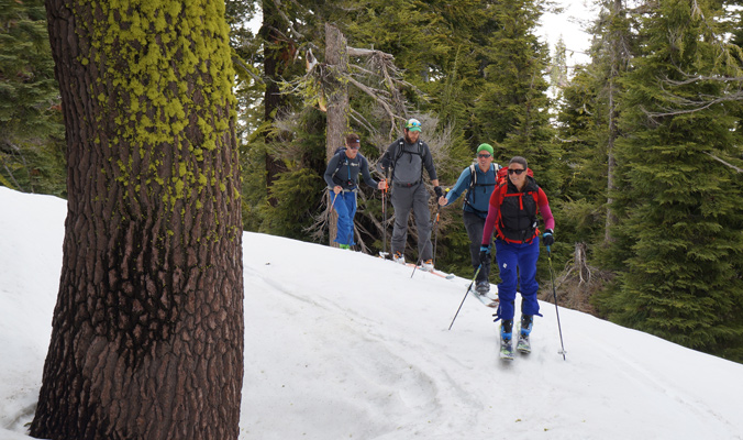 Kim Havell, Forrest McCarthy, Noah Howell and Mark Menlove wanter through the forest. | Lake Tahoe, Calif. | Photo: Donny Roth