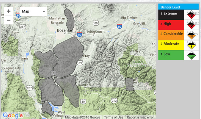 Gallatin National Forest Avalanche Center has ceased daily danger ratings online.
