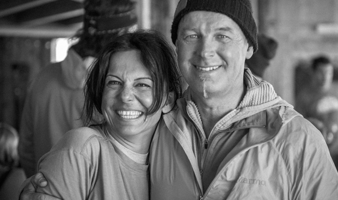 "Ayse Onol and Per ""Pelle"" Lang - owners of the Skiers Lodge in La Grave and close friends of both Doug and Chad."