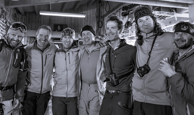 "Close friends of Coombs and VanderHam from left to right: John ""Waldo"" Walder, a long time La Grave local, Tim Petrick, the COO of Silverton Mountain, Miles Smart, an IFMGA Mountain Guide, Pelle Lang, an IFMGA Mountain Guide, Hans Solmssen, an IFMGA Mountain Guide, Ptor Spricenieks , a skier and La Grave local and Joe Vallone, an IFMGA Mountain Guide"